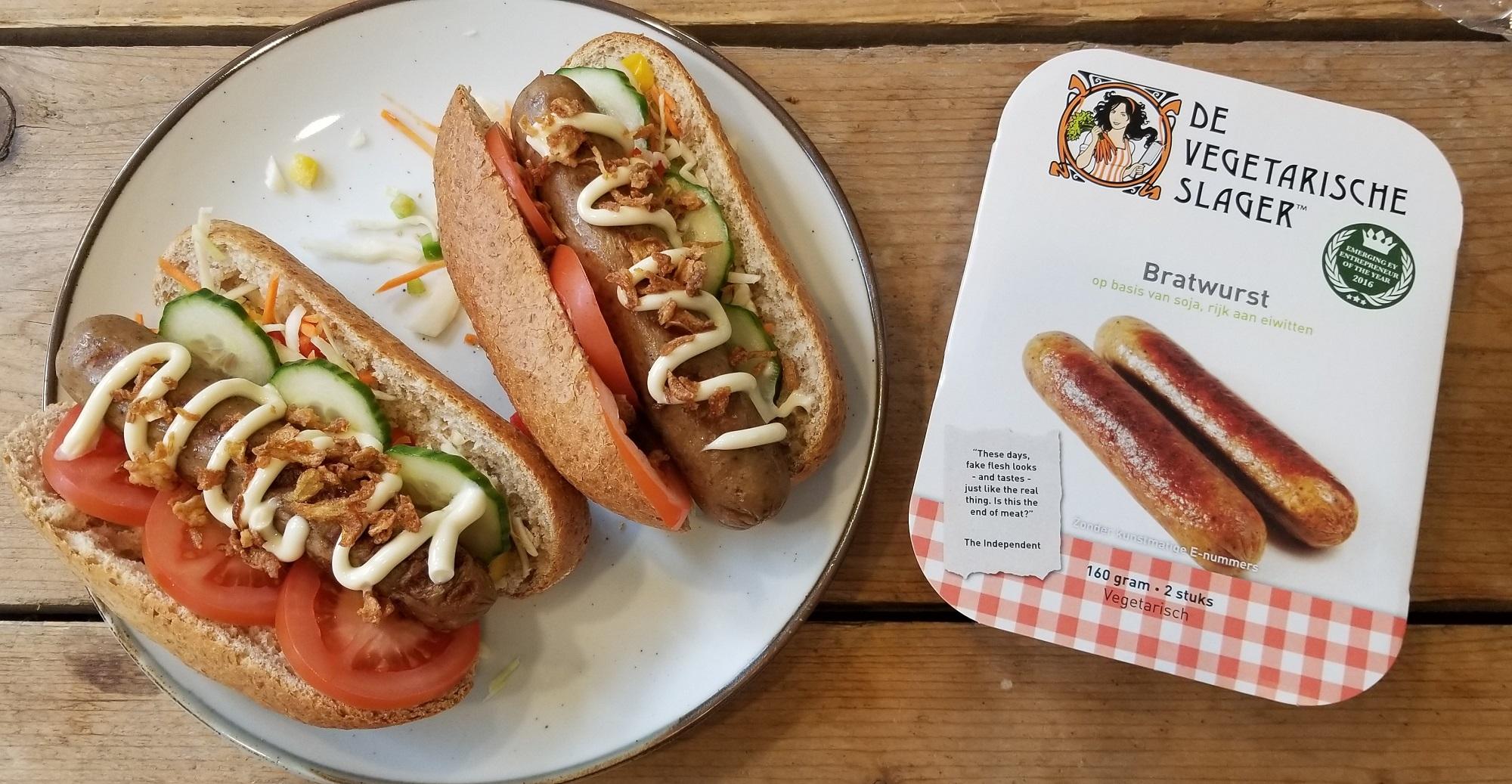 Gezonde hotdogs Vegetarische Slager Bratwurst