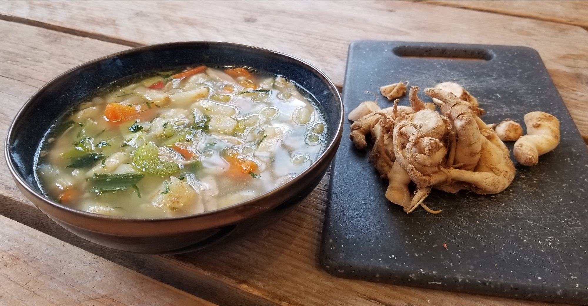 Knolselder soep maken zonder staafmixer