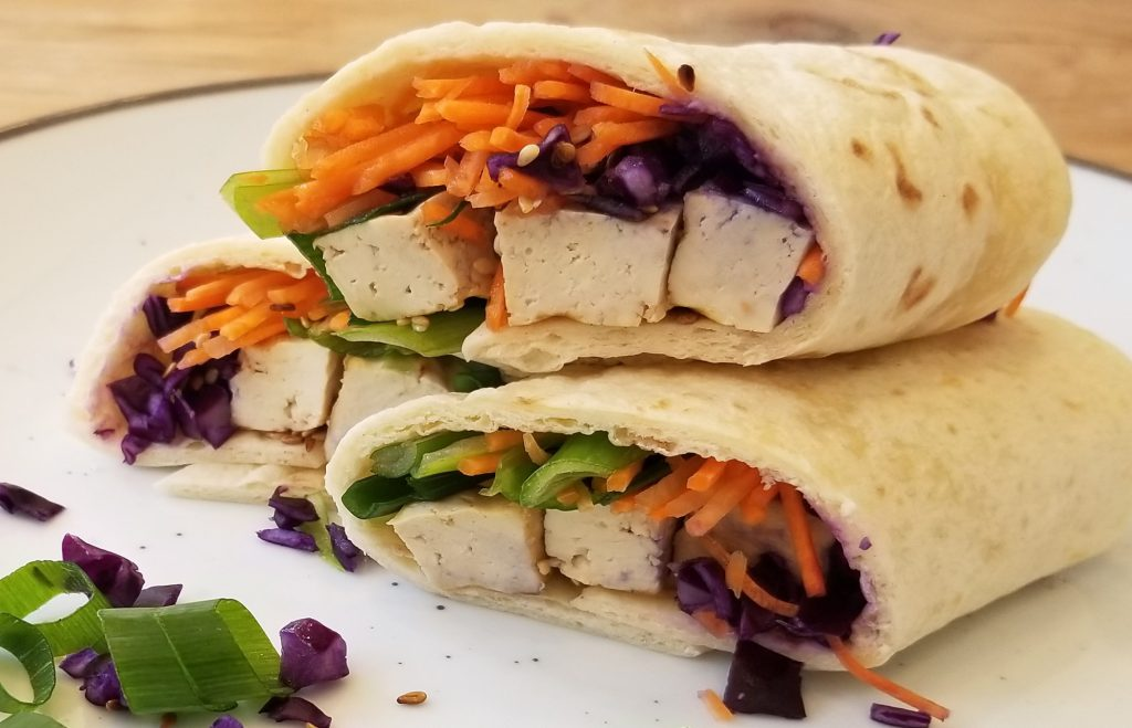 vegan wrap met tofu vulling - 9x vegan lunch recept inspiratie